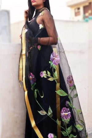 Black Oraganza Floral Stole