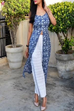 Indigo Blue Printed Cotton Kurti Set