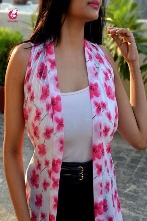 White Georgette Printed Floral Shrug