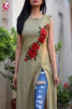 Green Modal Rayon Patched A-Line Kurti
