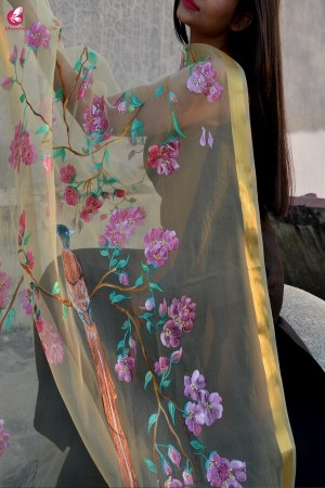 Cream Organza Handpainted Floral Stole