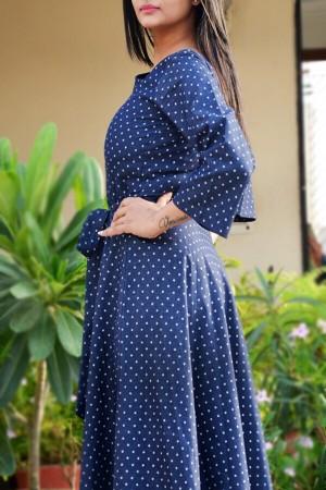 Blue Printed Denim Waist Belt Midi Dress