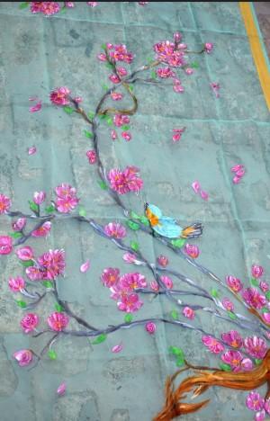 Pista Green Organza Floral Stole