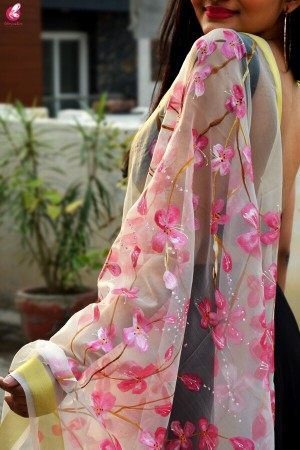 White Organza Handpainted  Floral Stole