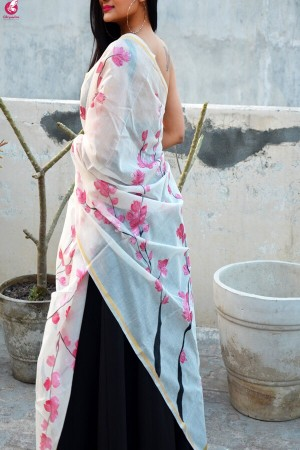 Off White Chanderi Hand Painted Floral Stole