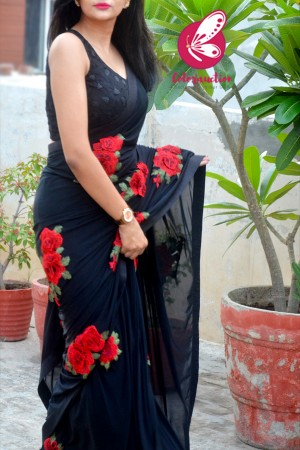 Black Net Applique Dupion Silk Taping Saree