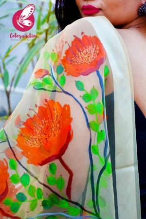 Cream Organza Vermillion Floral Hand painted Stole