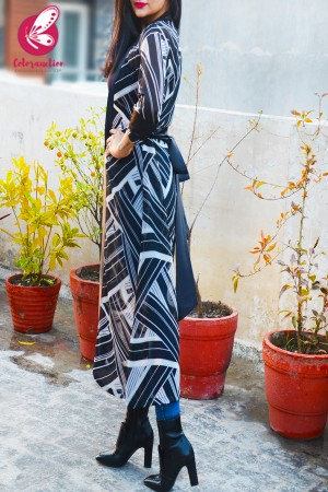 Black & White Geometric Print Open Front Shrug