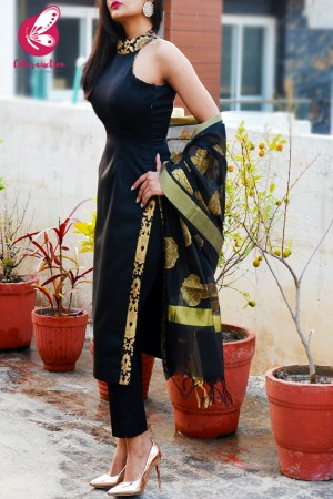 Black Cotton Silk Golden Brocade Padded Kurti with Black Cotton Silk Pants and Black Chanderi Dupatta