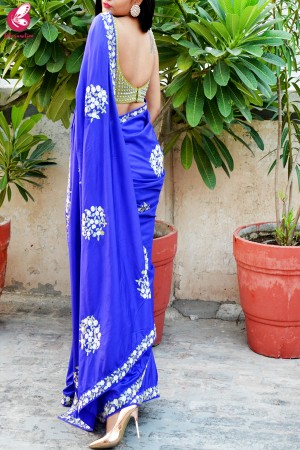 Ink Blue Sequins Handwork Pure Silk Saree