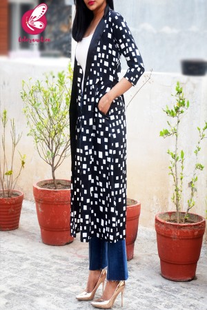 Black Printed Crepe Geometric Long Shrug