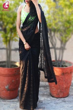 Black Chandelier Net Saree
