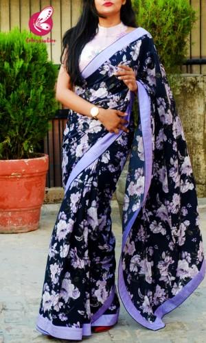 Blue Crepe Lilac Satin Taping Saree