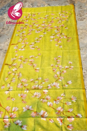 Lime Green Organza Hand-painted Peach Floral Stole
