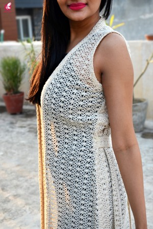 Cream Crochet Lace Long Shrug