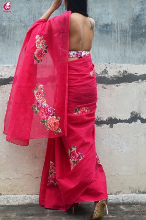 Magenta Organdy Applique Floral Saree