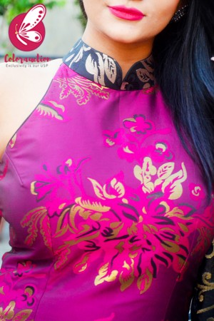 Magenta & Golden Brocade Silk Padded Kurti with Magenta Cotton Silk Pants and Black Golden Chanderi Dupatta