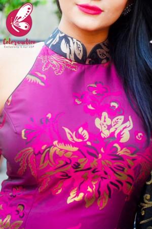 Magenta & Golden Brocade Silk Padded Kurti with Magenta Cotton Silk Pants and Black Golden Chanderi Dupatta