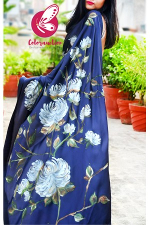 Blue Hand-painted Satin Floral Dupion Taping Saree
