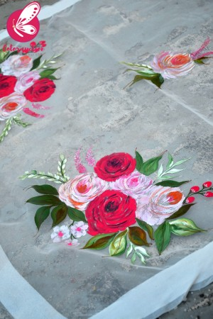White Organza Handpainted Colourful Roses Statement Stole
