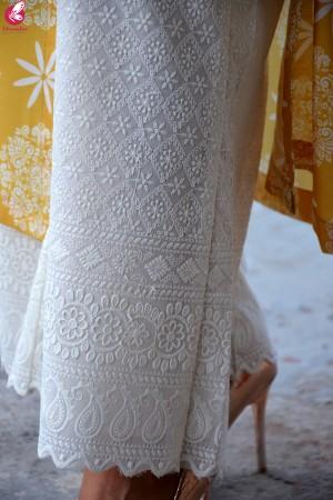 Mustard Printed Rayon Kurti with Cream Lakhnawi Cotton Full Lining Palazzo