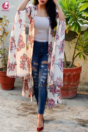 Light Cream Crepe  Printed Floral Shrug