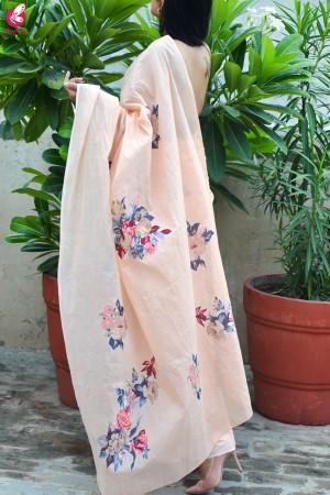 Peach Organdy Applique Floral Saree