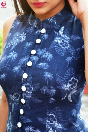 Blue Tropical Print Modal Rayon Kurti with White Chikankari Full Lining Cotton Palazzo