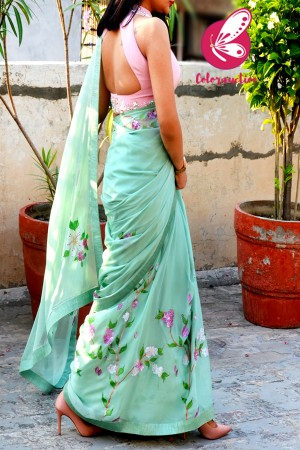Pistachio Green Pure Silk Chiffon Handpainted Saree