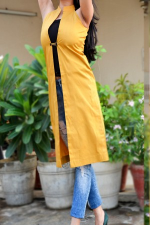 Mustard Cotton Sarton Striped Shrug