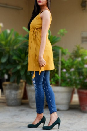 Mustard Golden Cotton Striped Top