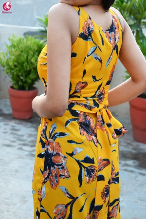 Mustard Yellow Printed Crepe Sleeveless Kurti with Front Slit