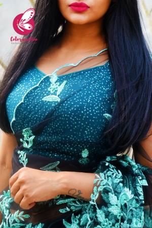 Black Embroidered Net Satin Half & Half Saree