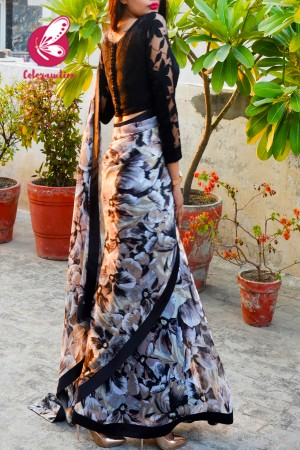 Printed Light Brown Chiffon Black Satin Taping Saree