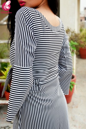 Black and White Stripes Crepe Front Slit Kurti