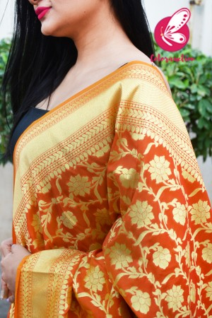 Orange Floral Banarasi Silk Dupatta