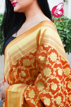 Orange Floral Banarasi Silk Dupatta