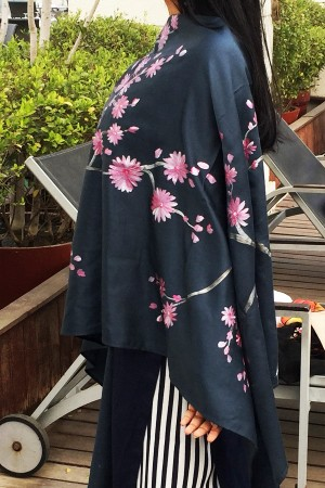 Grey Silk Hand-painted Floral Stole