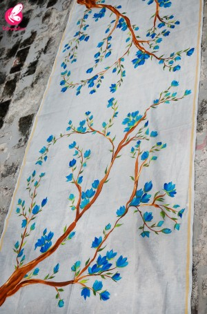 Off White Chanderi Multicolored Floral Handpainted Stole