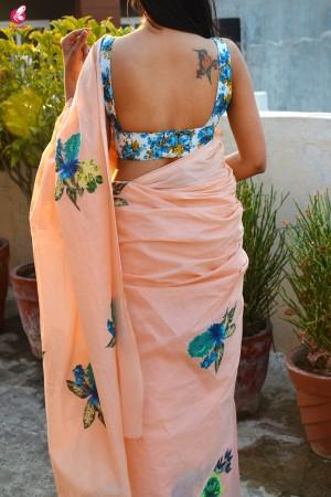 Peach & Blue Organdy Applique Floral Saree