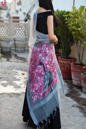 Grey Organza Hand painted Multi color Peacock Stole