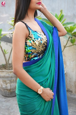 Green Blue Crepe Chiffon Double Shaded Saree