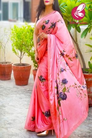 Peachy Pink Hand-painted Satin Roses Saree