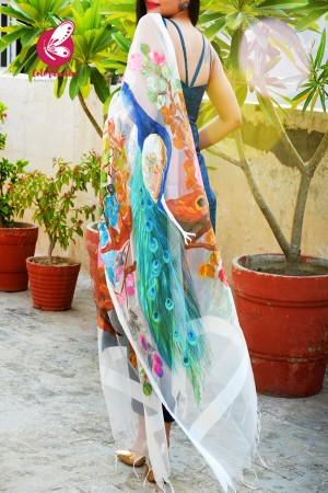 White Organza Handpainted Peacock Floral Statement Stole