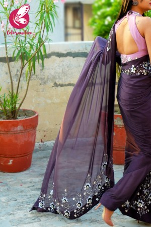 Mauve Purple Pure Silk Chiffon Sequins Pearl Handwork Saree