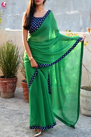 Green Printed Chiffon Georgette Taping Saree