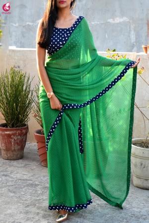 Green Printed Chiffon Georgette Taping Saree