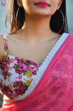 Pink Printed Chiffon Lace Saree