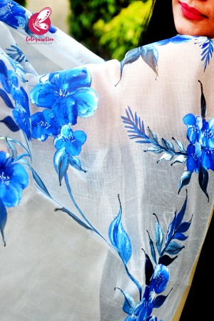 White Blue Floral Pure Organza Handpainted Stole