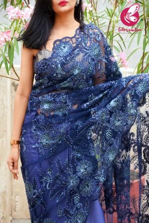 Blue Embroidered Half & Half Satin Net Saree
